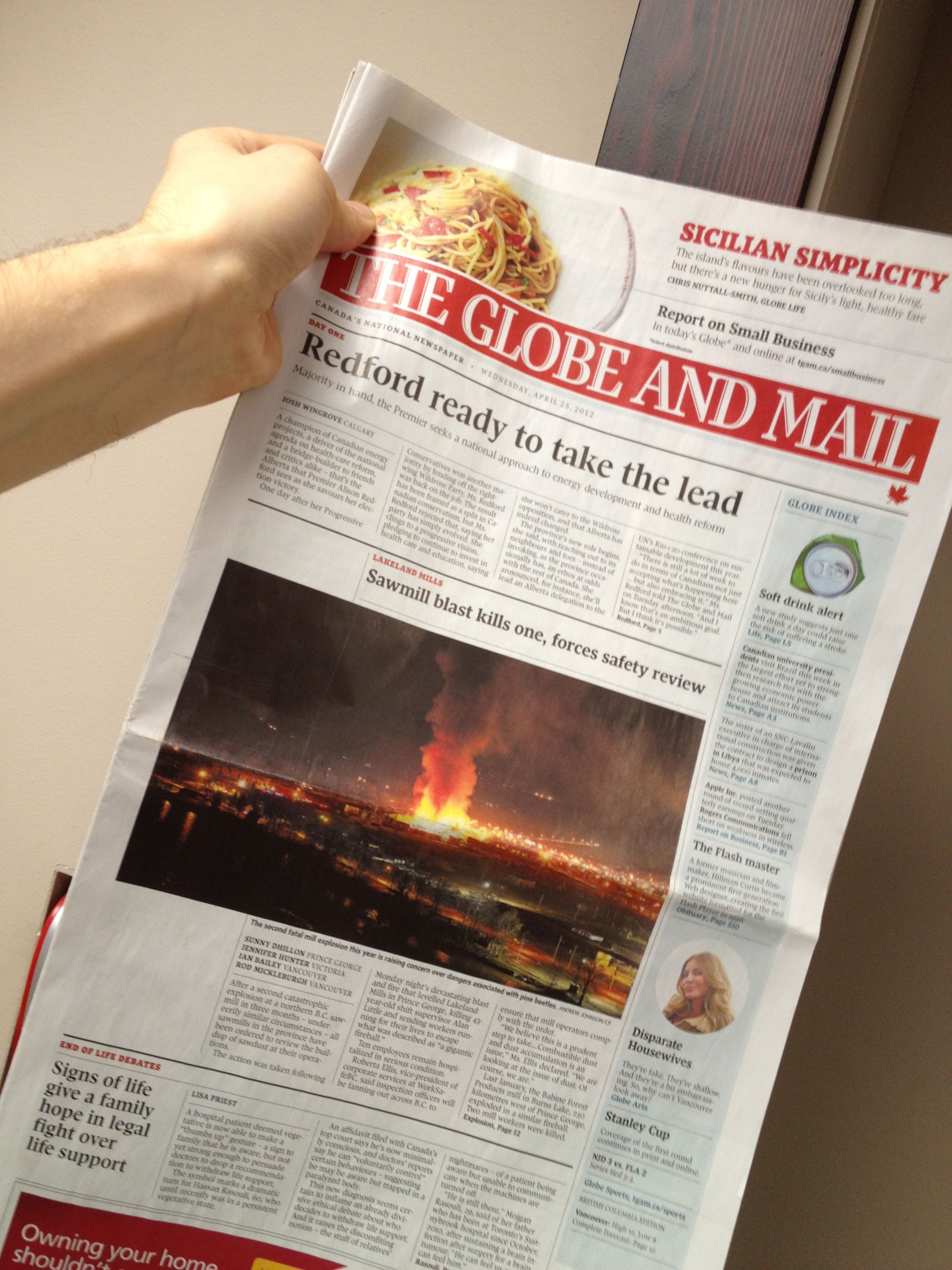 Cover of the Globe and Mail
